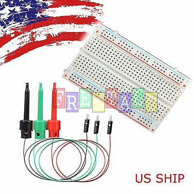3X Test Hook & Mini 400 Points Prototype PCB Solderless Breadboard Protoboard