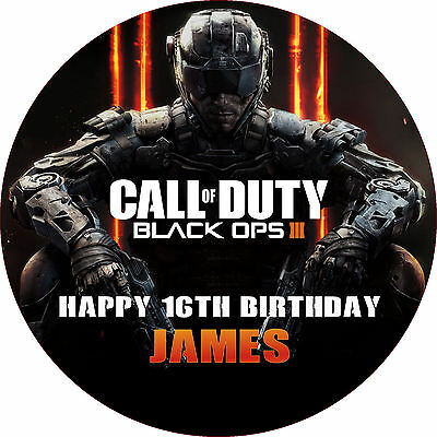 "Call of Duty Black Ops 3 7.5"" ROUND Cake Topper Rice Paper/Icing 24HR POST"