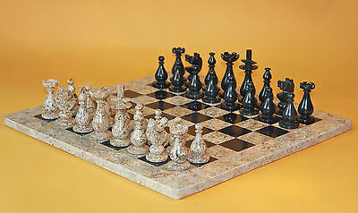 """12"""" Pro.Chess Set Fossil Stone & Black Marble Hand Made in Velvet/Suede Gift Box"""