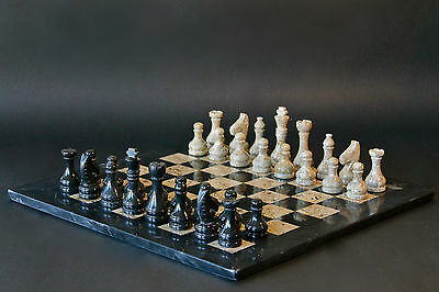 "12"" Chess Set Fossil Stone & Black Marble Hand Made in Velvet/Suede Gift Box"