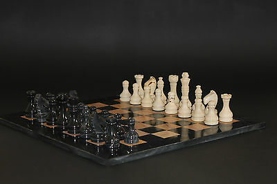 "12"" Chess Set Teak Stone & Black Marble in Velvet/Suede Gift Box"