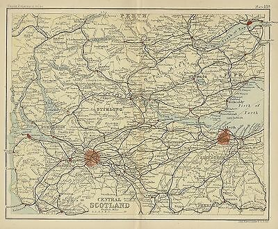 Original 1896 Map Central SCOTLAND Edinbugh Glasgow Perth Greenock Loch Lomond