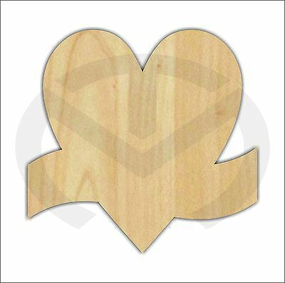 Unfinished Wood Heart with Banner Laser Cutout, Wreath Accent, Door Hanger