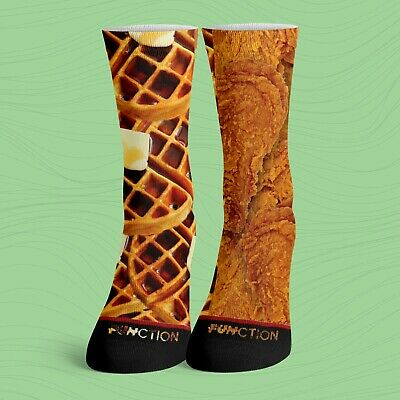 """Men's """"Chicken And Waffles"""" Ankle Low Cut Socks Size 10-13"""