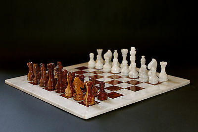 """12"""" Chess Set White Marble & Red-Brown Marble Hand Made in Velvet/Suede Gift Box"""
