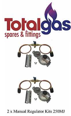 Lpg Dual Regulator Kit Twin Stage 250Mj Suit Caravan And Home Use Double