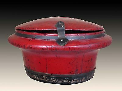 A Chinese Antique Blood - Red Wedding Wood Basket Box Container Dark wood tone