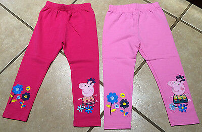 NWT Cute Girls Peppa Pig Pink Embroidered Flowers Leggings Size 18/24M-5/6