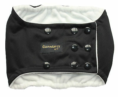 Size Medium - Dog Belly Band Nappy / Urine Incontinence - Waterproof Fabric -Blk