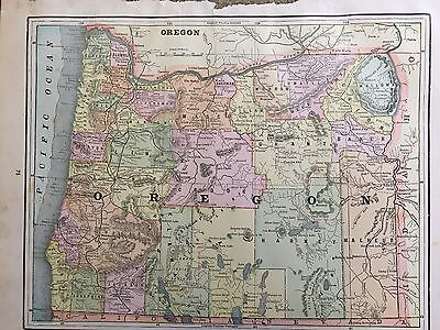 Antique COLOR MAP of Oregon-circa 1893