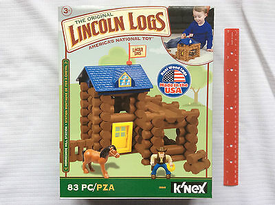 Original Lincoln Logs Horseshoe Hill Station 83 Piece Set Real Wood Logs 3+ NEW