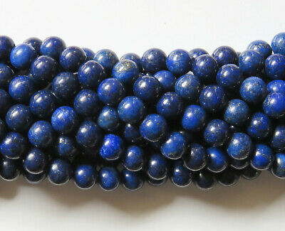 50pcs 8mm Round Natural Gemstone Beads - Lapis Lazuli (Dyed)