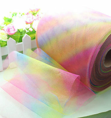 "5-100yd 6"" rainbow tulle fabric tutu trim craft Wedding Decoration dress L1976"