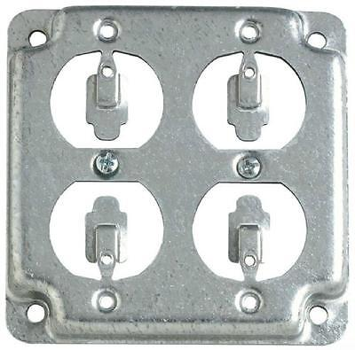 """LOT OF 4 RS8 4"""" Steel Square Box Surface Cover, 2-Duplex Flush Receptacles"""