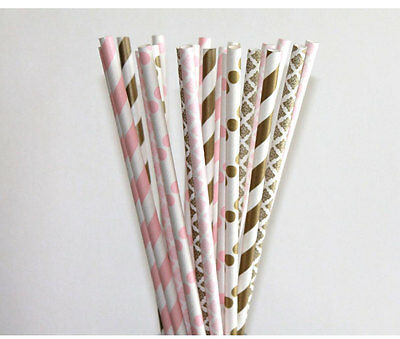High Quality 25 Pink,Pink Damasks And Gold Mix Party Paper Straws birthday A-7