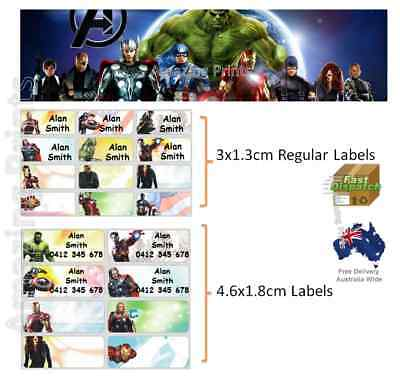 The Avengers Vinyl Personalised Name Label Sticker school book boy tag custom