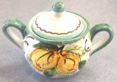 Vietri Pottery-2,1/2 Inch Canister Sorrento Green.Made/Painted by hand in Italy