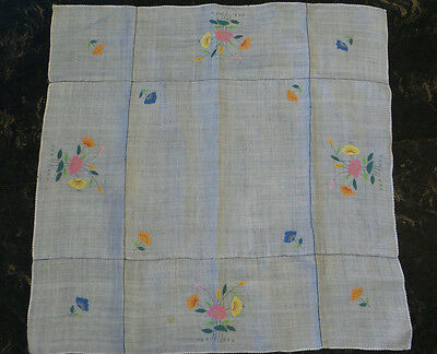 "Vintage Organdy Linen Tablecloth White Hand Stitched Floral Applique 25"" x 34"""