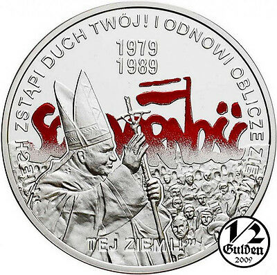 POLAND 10 Zlotych 2009 General Elections Pope John Paul Silver Proof Coin + GIFT