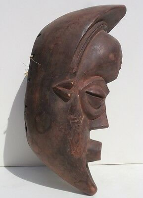African Face Mask Crescent Moon Profile attrib. to Punu Gabon Female Ancestor
