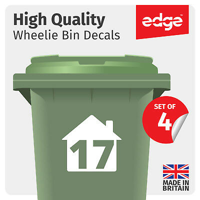 4 X Wheelie Bin Numbers Custom House Number Vinyl Graphic Stickers Decal #wb1