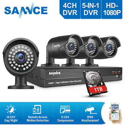 SANNCE 4CH HD DVR Surveillance Kit 1080P CCTV Security Camera System Outdoor 1TB