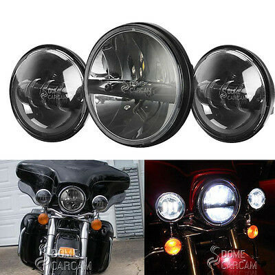 7'' LED Headlamp Headlight + Passing Lights For 2007 2005 2003 Harley Road King