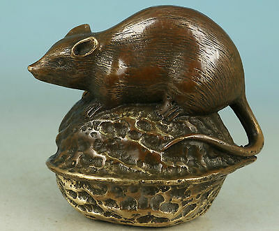 Super Chinese Old Bronze Collection Handmade Carved Mouse Statue Figure