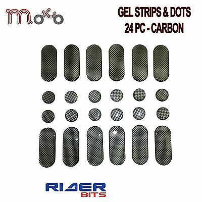 Strips And Dots 24 Pack Carbon Effect Gel Sticker Sticky Dashes Repair Motorbike