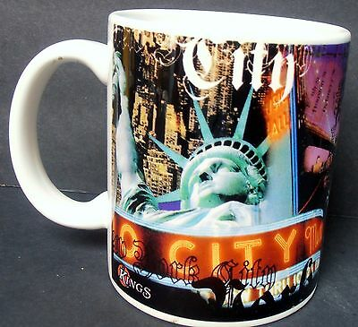 New York: NYC, Radio City, Broadway Coffee Mug (White, Mosaic Over Most) NEW