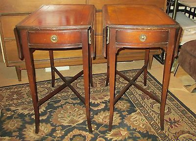 2 Vtg Imperial Mahogany Nightstands End Tables Leather Top 1 Drawer Grand Rapids