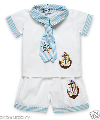 """NEW Aurora Royal Baby Boys """" Sailor Suit"""" White & Blue Embroidered Shirt &Shorts"""