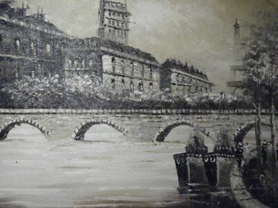 sepia old Paris street large oil painting canvas cityscape French original art