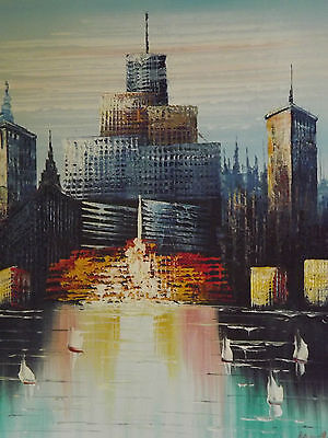 abstract skyscrapers buildings large oil painting canvas new york cityscape art