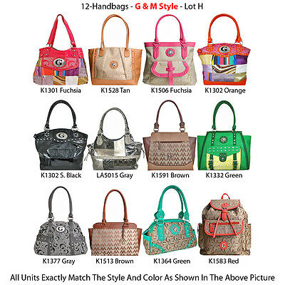 Wholesale Lot - 12 Women's G & M Style Handbags - Premium Designer Purses