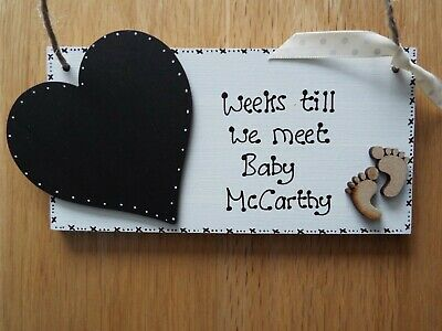 Chic Personalised Countdown New Baby Pregnancy Mum plaque/sign BABY SHOWER gift*