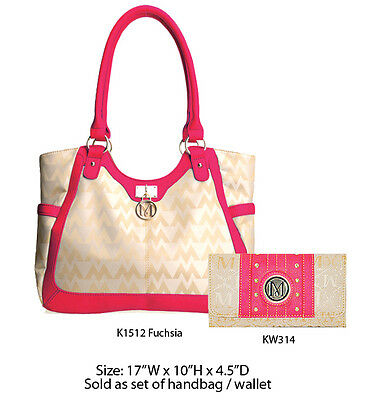 Women's Cute Pink+White Designer Tote Bag w Clutch Purse - Handbag Wallet Set