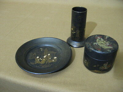Antique Japanese Chinoisiere Paper Mache -  Plate, Pencil Holder & Box