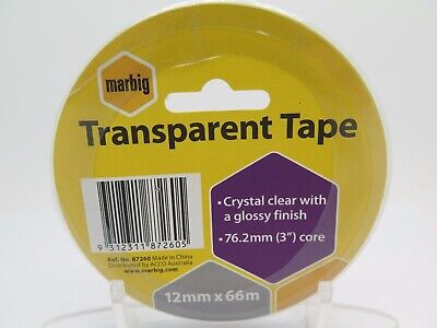 4 x Marbig Transparent Office Sticky Tape - 12mm x 66M - 87260