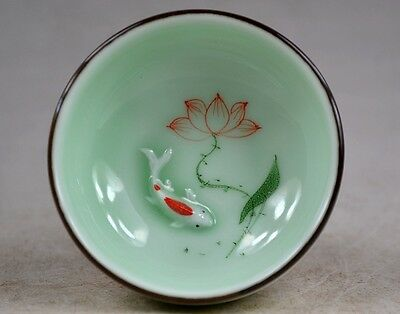 Collectibles Handwork Carving Porcelain Fish Lotus Rare Tea Ceremony Cup