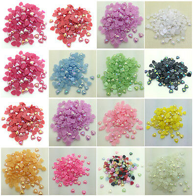 NEW 12mm 10mm 8mm Heart-Shaped Pearl Bead FlatBack Scrapbook For Crafts