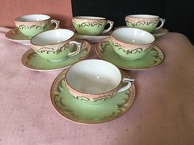 Pretty Group Five Antique Porcelain Pink & Green Miniature/Small Cups & Saucers