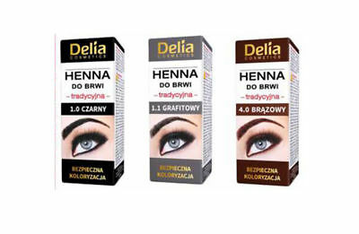 2 x DELIA HENNA TRADITIONAL FOR EYEBROWS TINT BROWN /BLACK/GRAPHIT