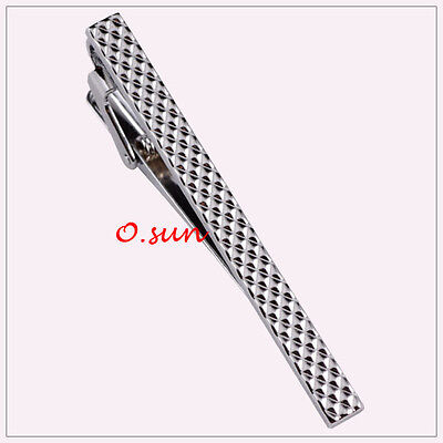 New  Men Silver Classical Grids STAINLESS STEEL Wedding Tie Clip Pin Bar Party