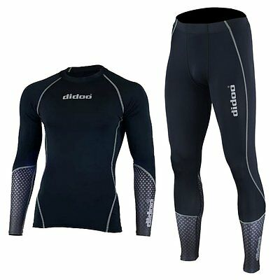 Mens Compression Pants Base layer Tops Winter Shirts Jerseys+Trousers 2Piece Set