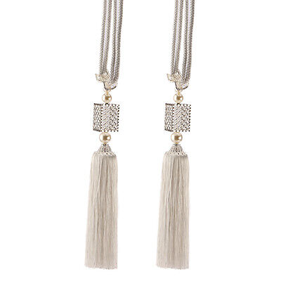 TB5 Pair of Large LUXURY Glass Crystal CREAM Curtain Rope Tie Back Tassels