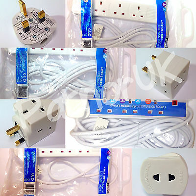 Status 1/2/3/4/5 Way Gang Extension Lead Socket Plug Uk Mains Electric Cable
