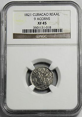 Curacao - 1821  1 Reaal  KM#26.4  Graded  NGC XF-45  RR