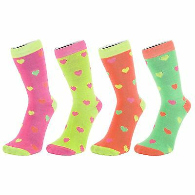 Neon Coloured Ankle Socks With Multi Coloured Hearts (Size: 4-7)