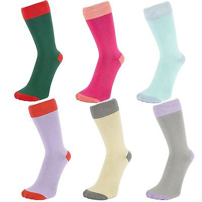 Plain Colour Ankle Socks With Contrasting Coloured Hem (Size: 4-7)